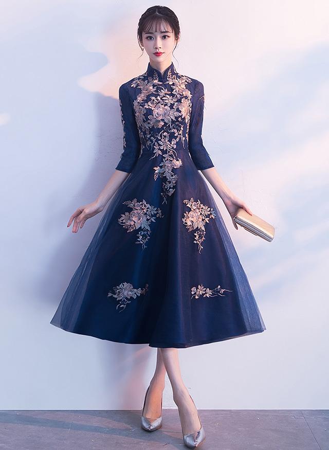 d74eef9fa36e9 送料無料 ☆ 2カラー ドレス レディース 大きいサイズ ミモレ丈 チャイナ風 ネイビー レッド 袖