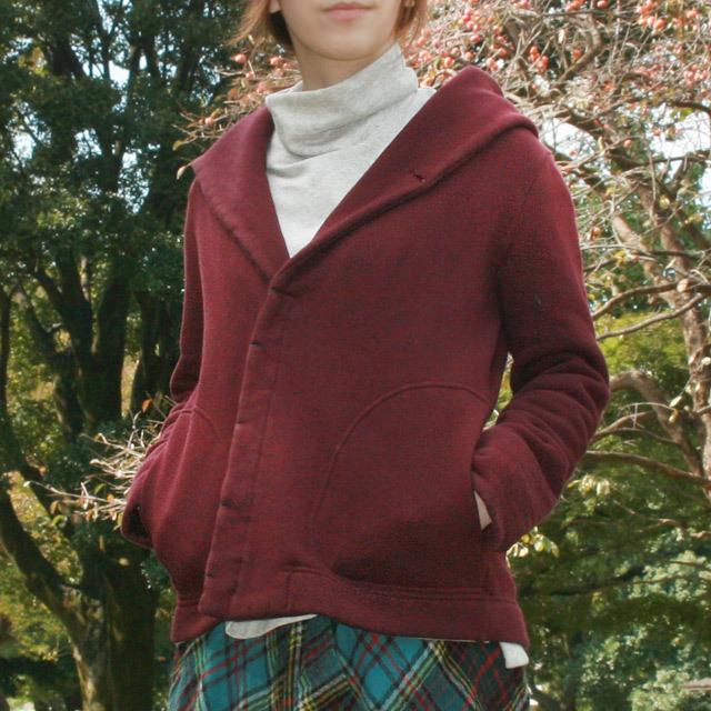 オーガニックコットントビ裏毛フードショールジャケット(新色)