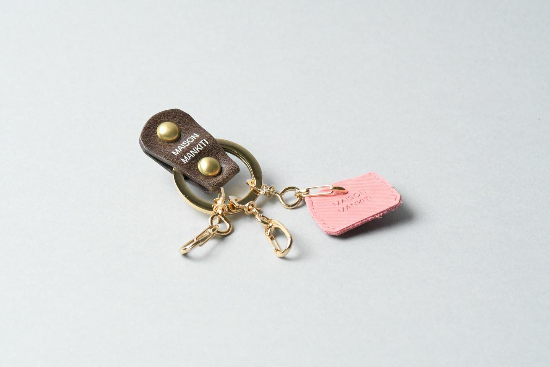 KEY RING・CAP ■ダークブラウンG・ピンク■_本革真鍮キーリング・キーキャップセット_ - 画像1