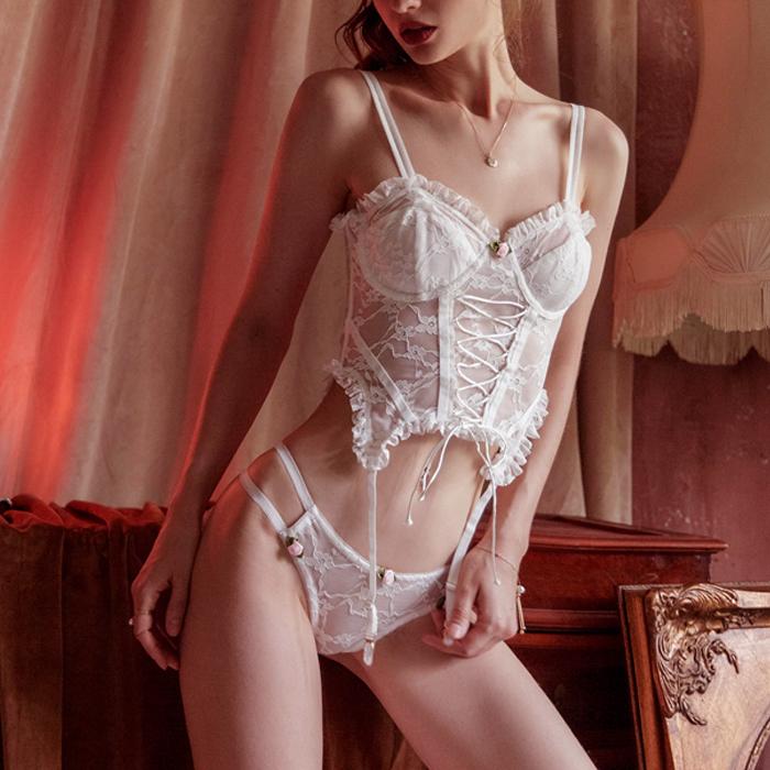 [2color] Rose corset lingerie #L02