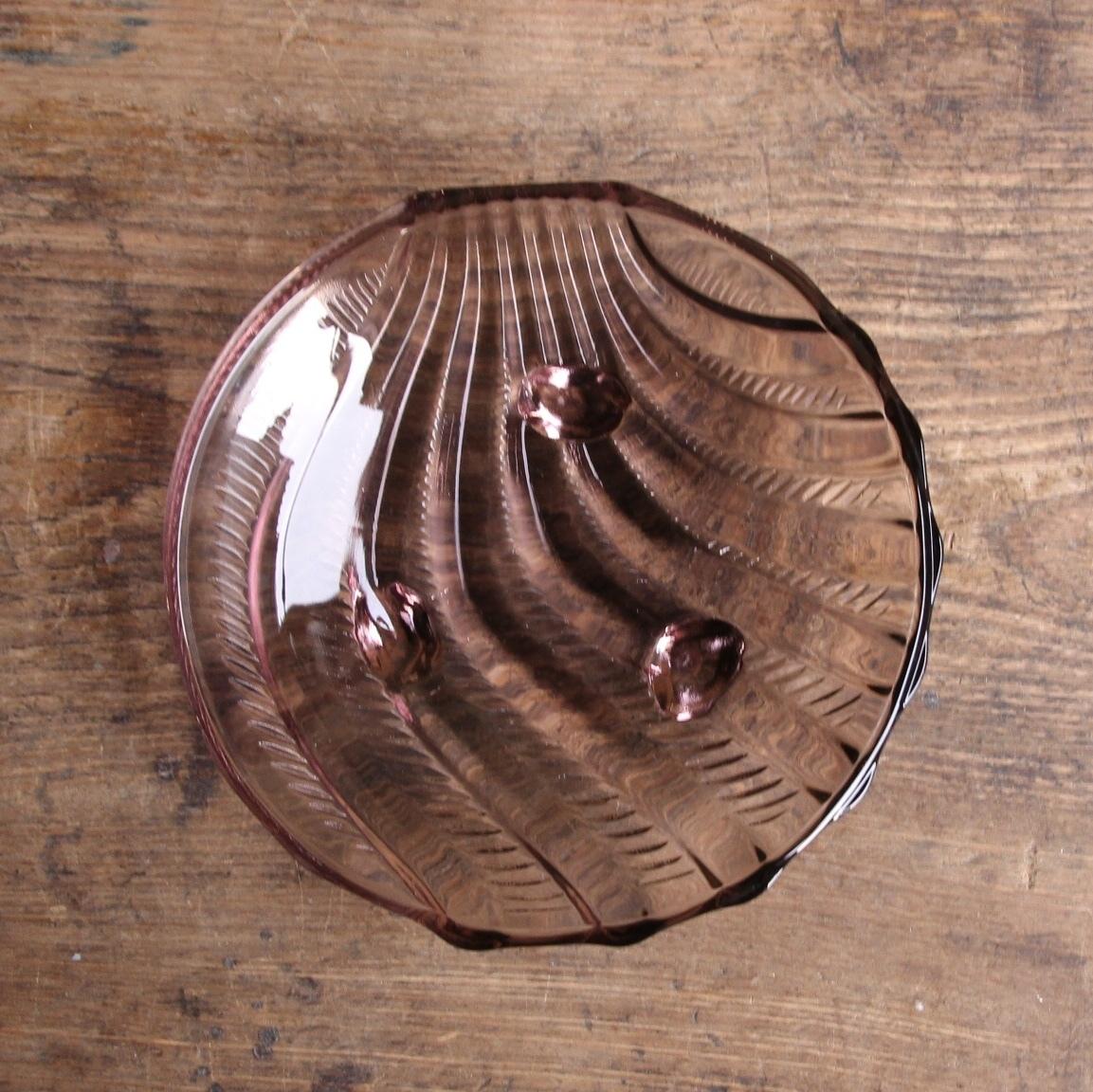パープル 昭和レトロなガラス小皿 在庫4枚