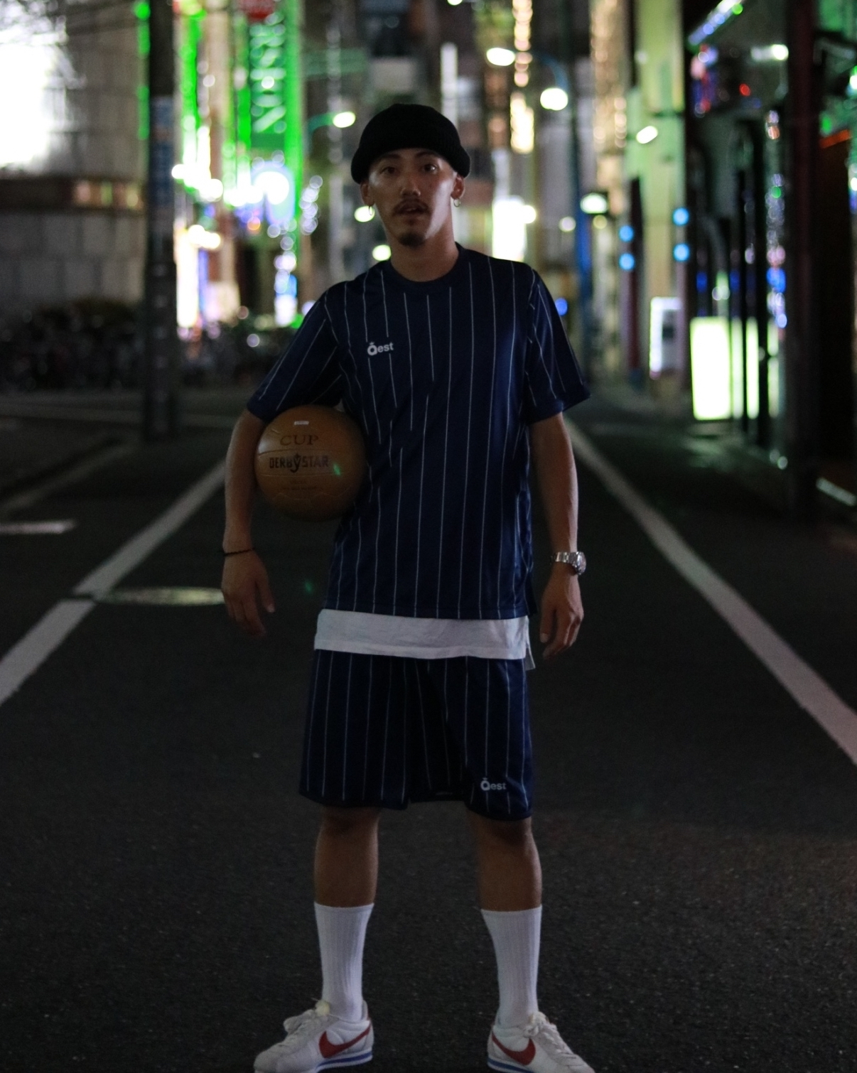 Simple Stripe Practice Shirt / Navy - 画像4