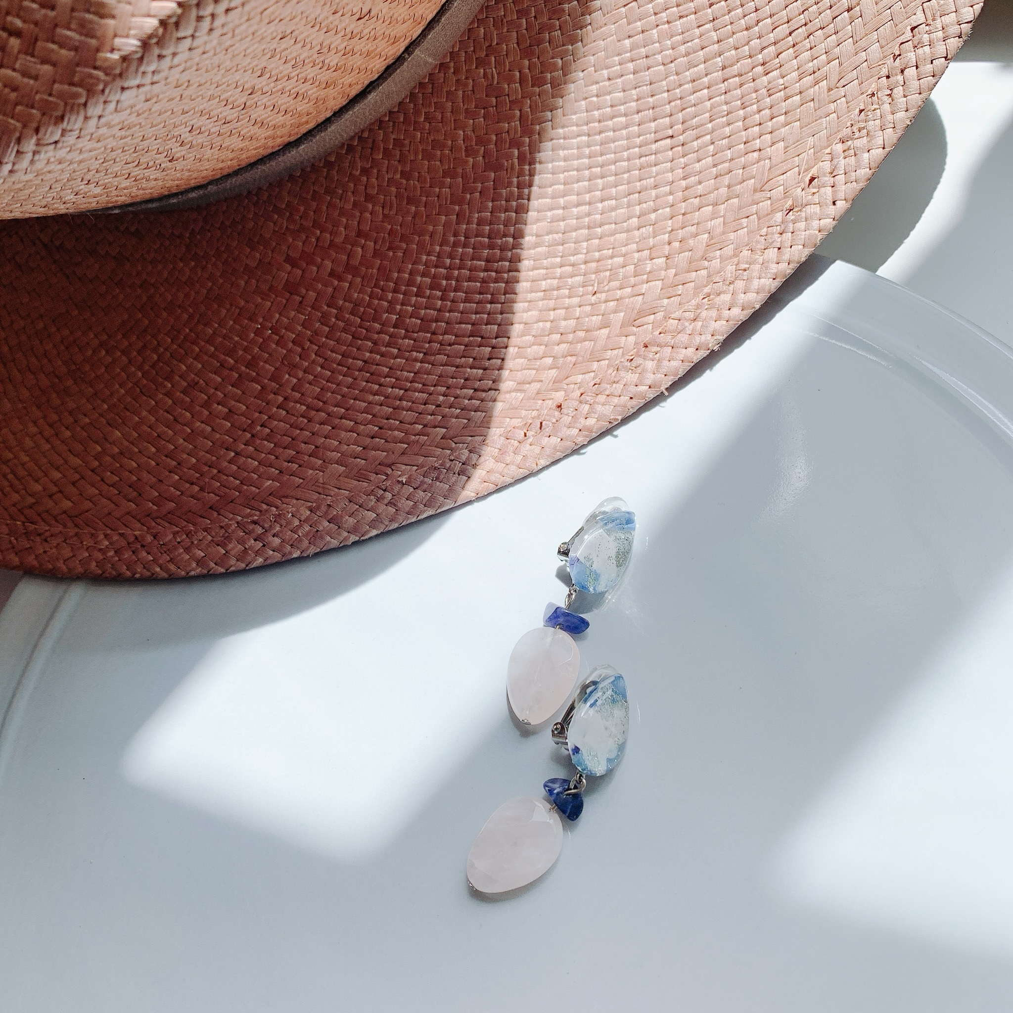 """"""" Earrings NO.danoan-1-1581″ ペイントと天然石"""
