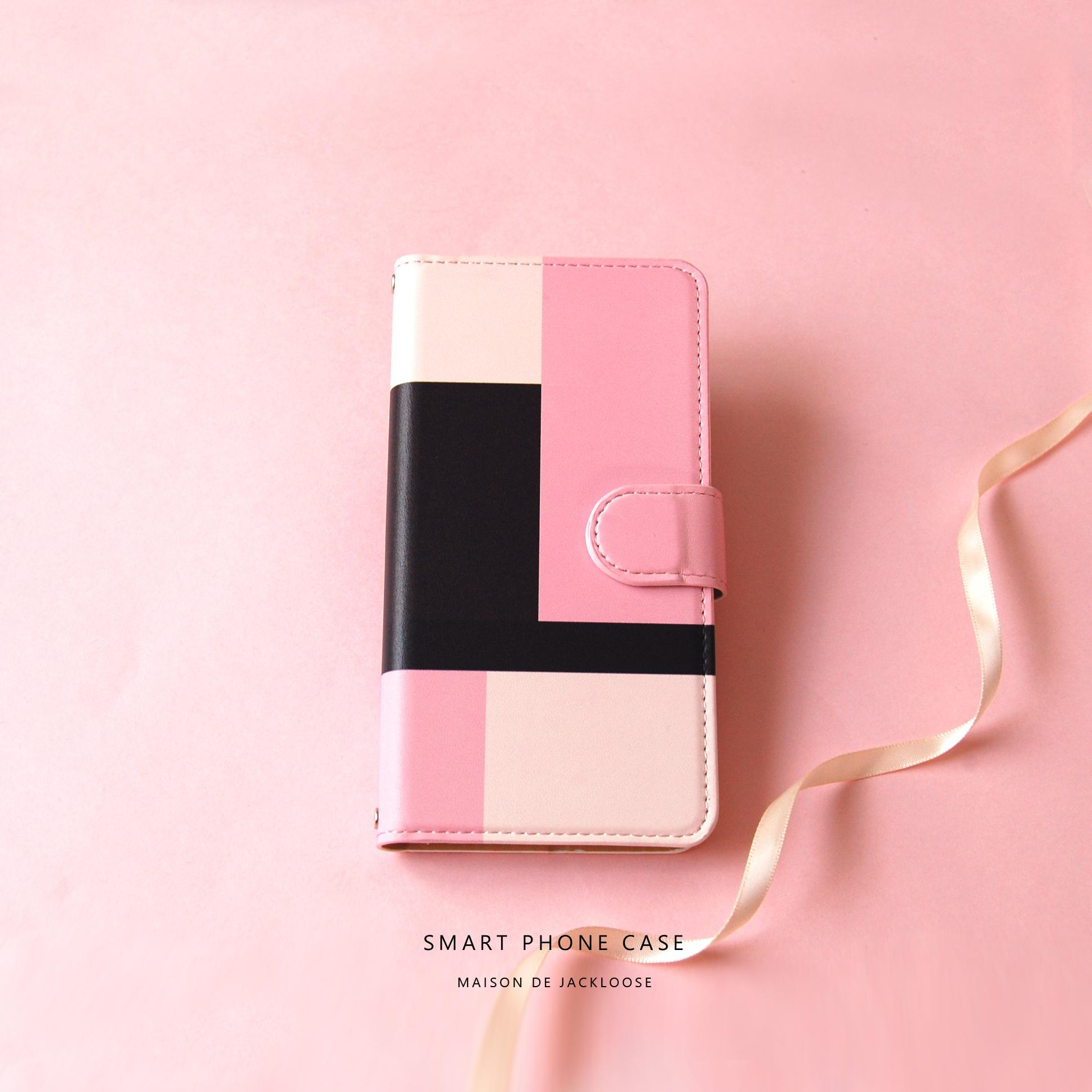 【スマホケース手帳型】上品なトリコロールピンク・モンドリアン調 シンプルデザイン・iPhone Xperia AQUOS Galaxy etc ほぼ全機種対応