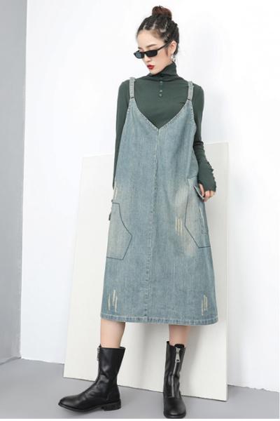dropdrop オーバーオール デニム ウォッシュデニム ジーンズ 可愛い  サロペット ジャンパースカート