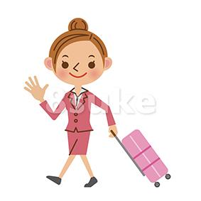 イラスト素材:スーツケースを引いて歩くビジネスウーマン(ベクター・JPG)