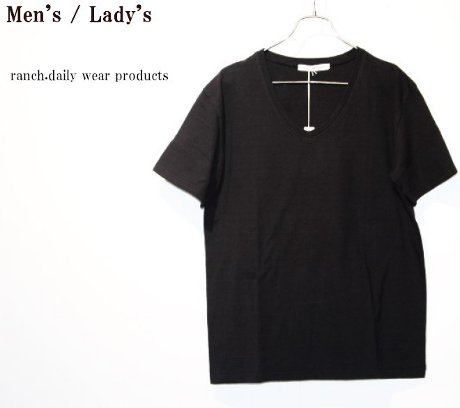 ranch.daily wear products 度詰め天竺半袖Vネック(BLACK) 【Men's】