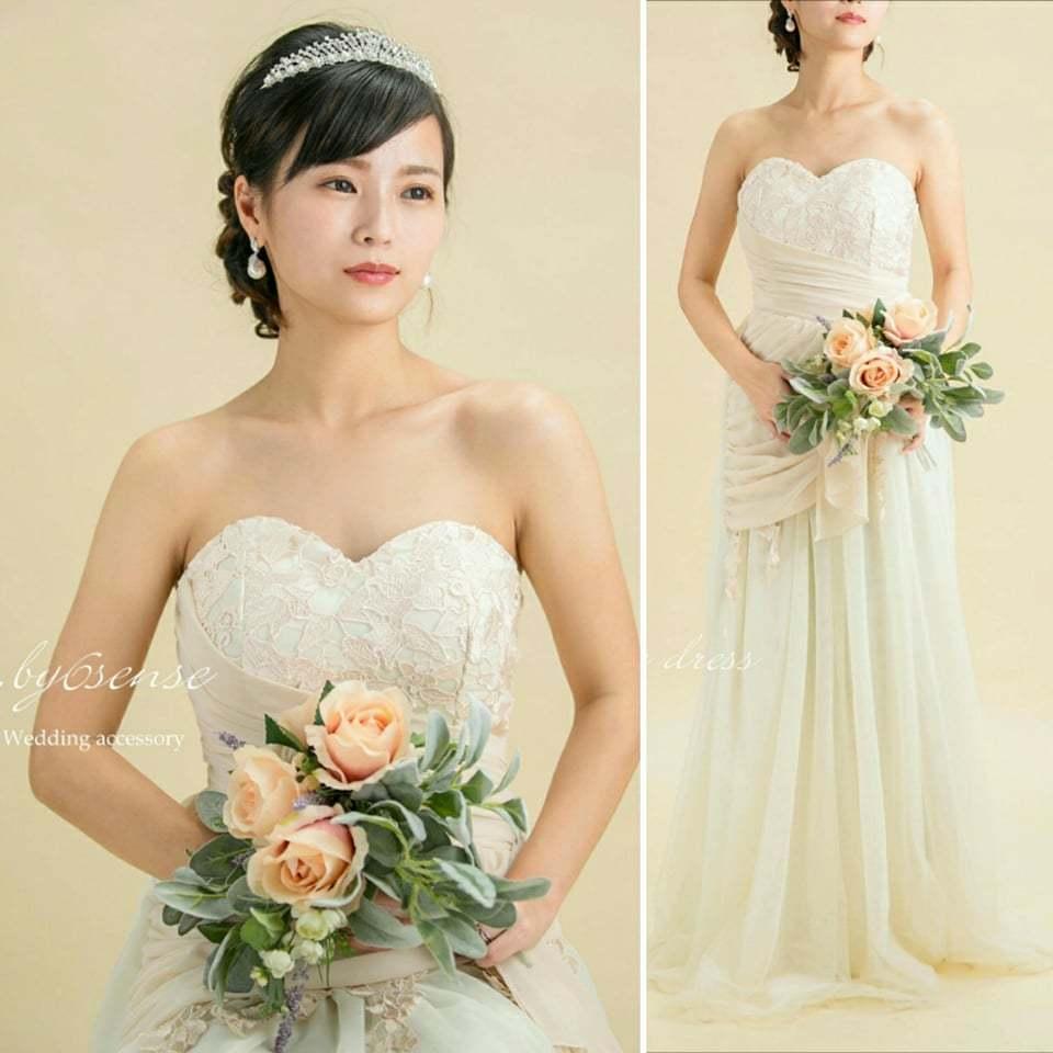 ベアトップスピンドルロングドレス~結婚式二次会ロングドレス~ 送料無料商品ベージュ