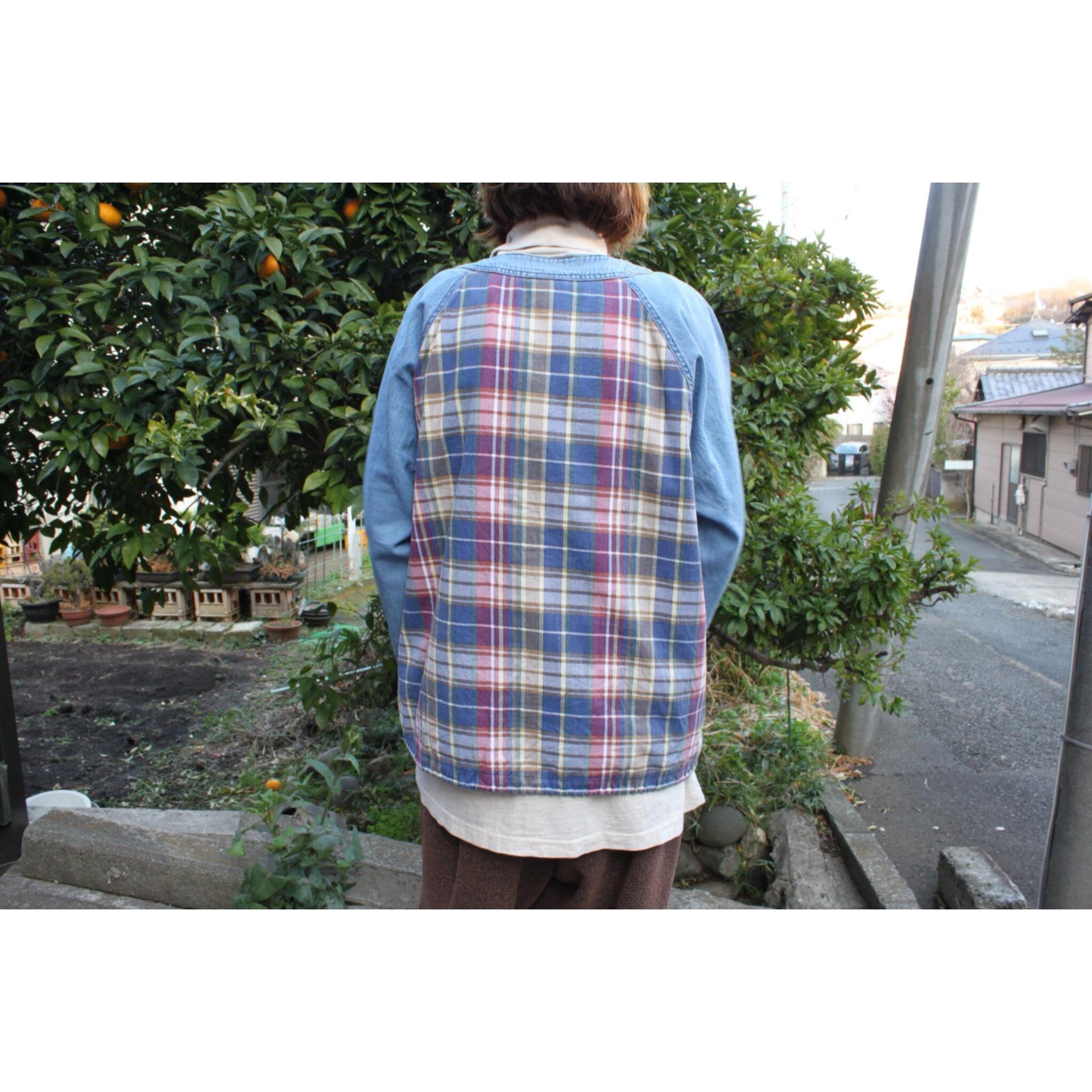 Vintage denim × cotton check pullover jacket