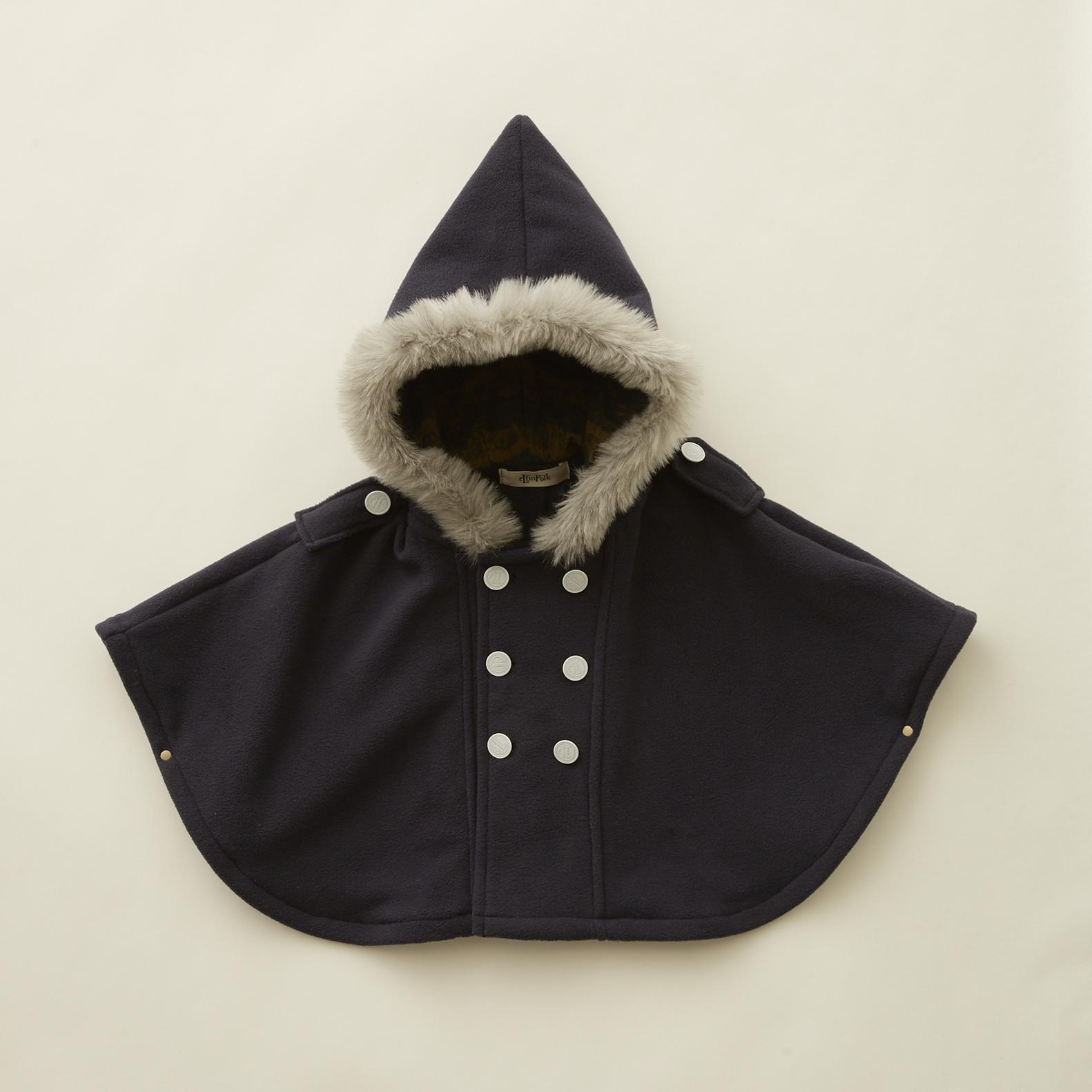 《eLfinFolk 2020AW》freece  baby cape / navy / F(80-100cm)