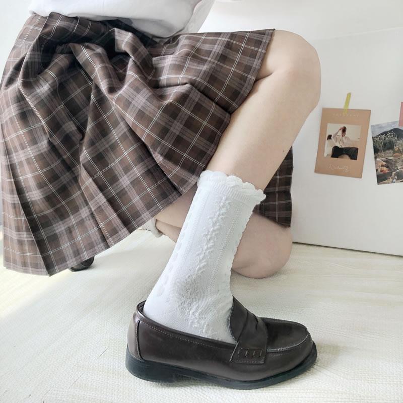 【靴下】無地刺繍ソックス25648792