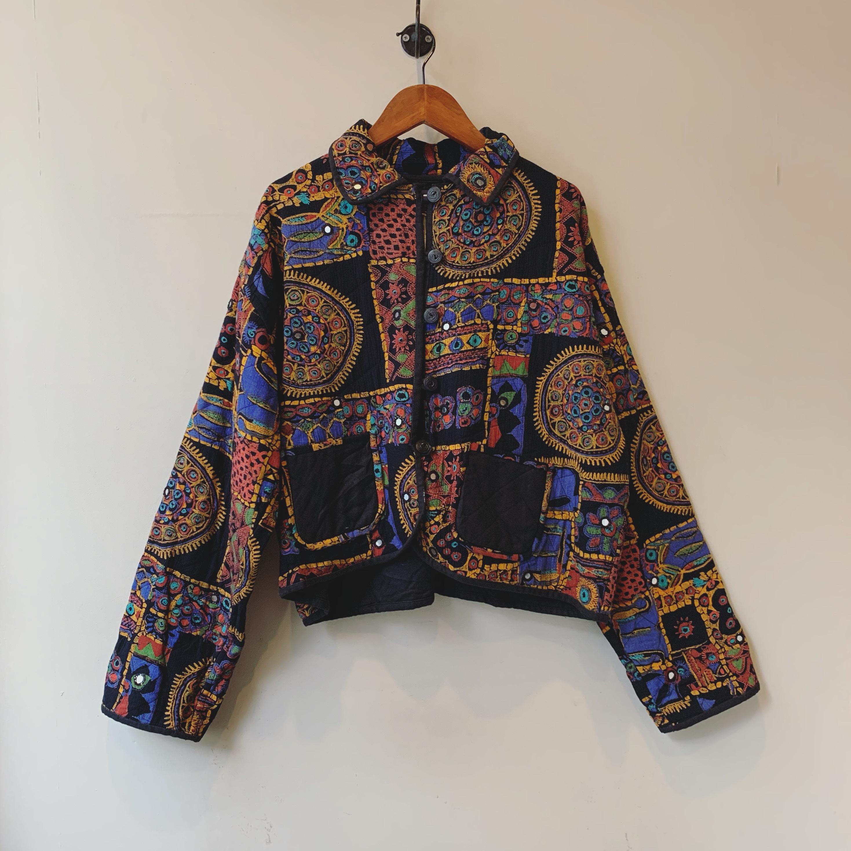 vintage mirrorwork quilted reveseble jacket