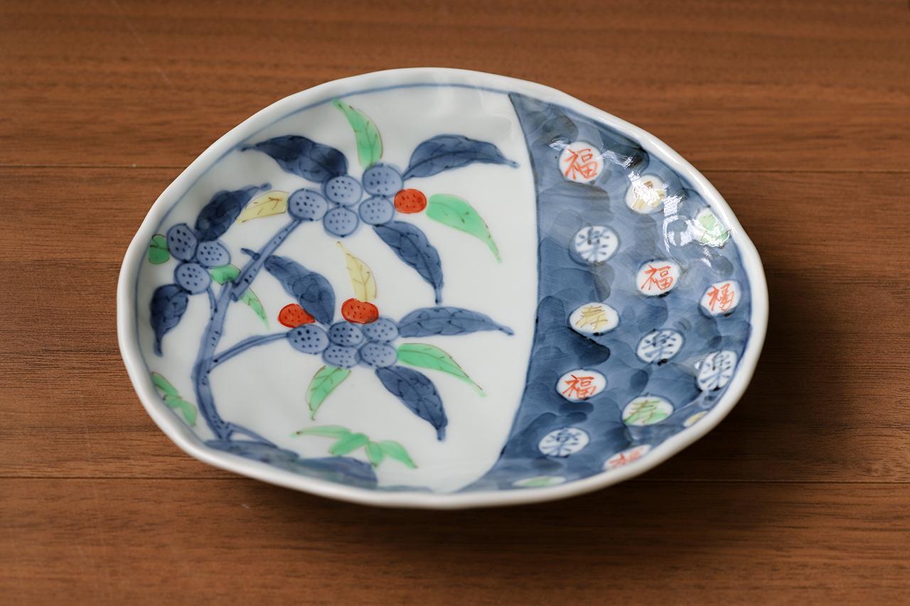 藍水 福楽寿 変形皿 うつわ藍水 波佐見焼