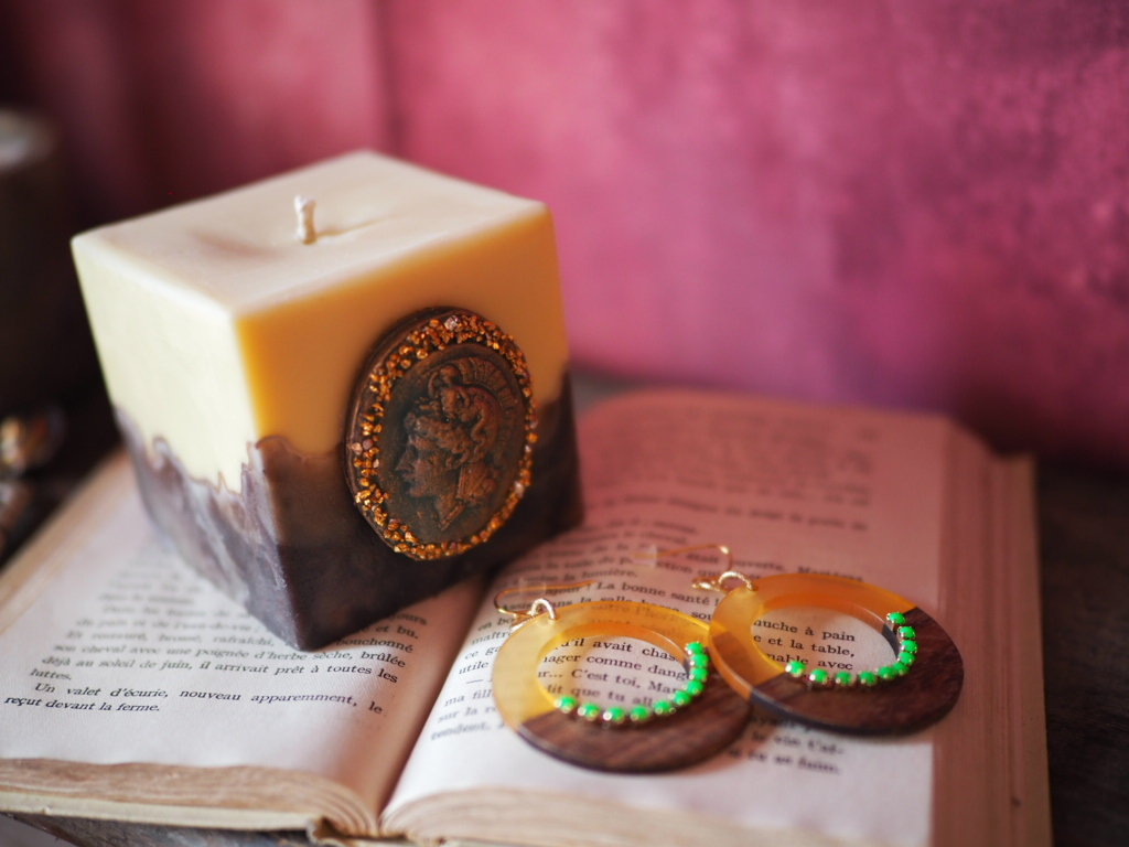 Vintage candle & earring (collaboration set1)