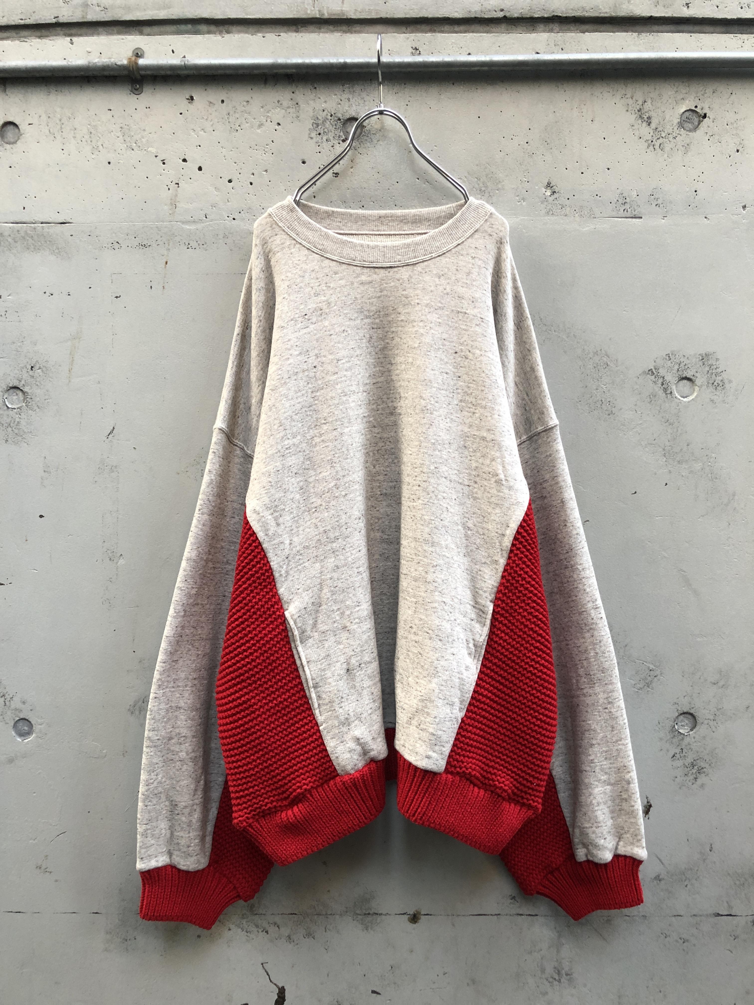 『my beautiful landlet』knitting mix swiching sweat / beige×red