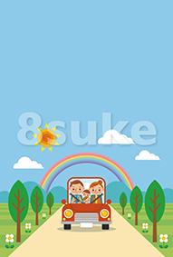 イラスト素材:ドライブを楽しむ家族/春・夏・青空(ベクター・JPG)