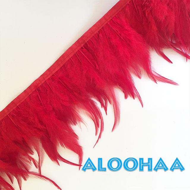 フェザーロール【レッド】単色10-15cm丈 1m DIY 羽 衣装材料 タヒチアン