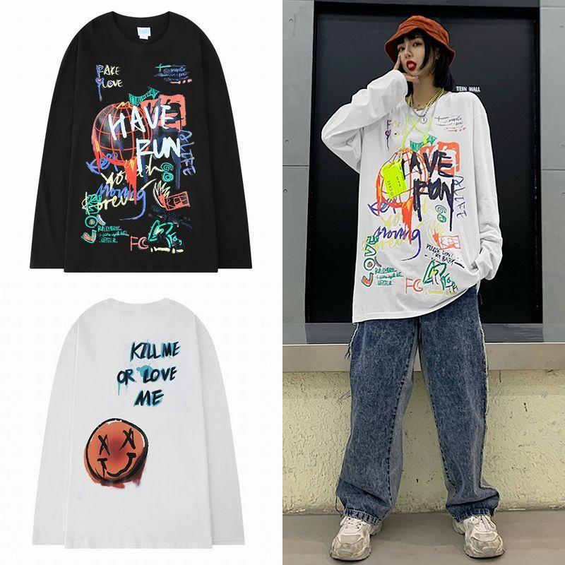 ユニセックス 長袖 Tシャツ メンズ レディース 落書き風 スマイル ニコちゃん ラウンドネック シンプル オーバーサイズ 大きいサイズ ストリート