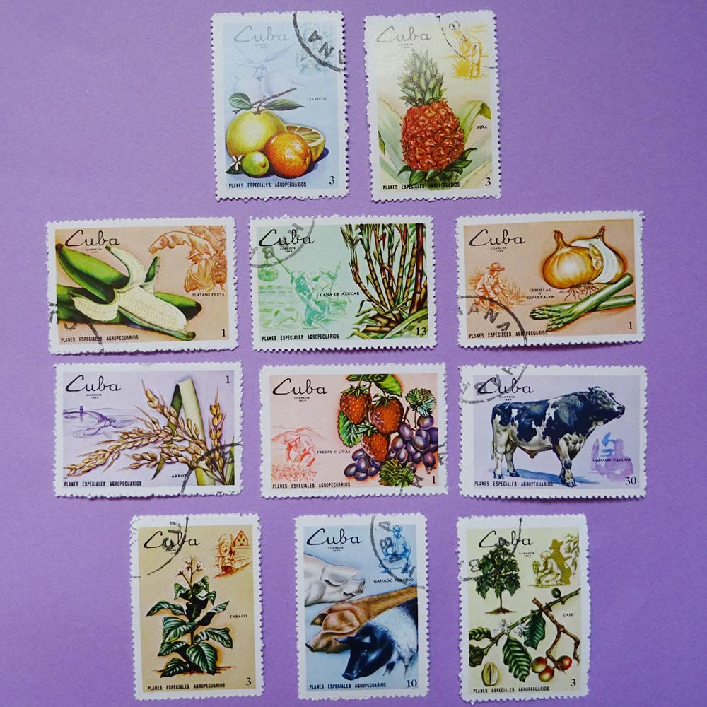 チェコ 野菜や果物のヴィンテージ切手