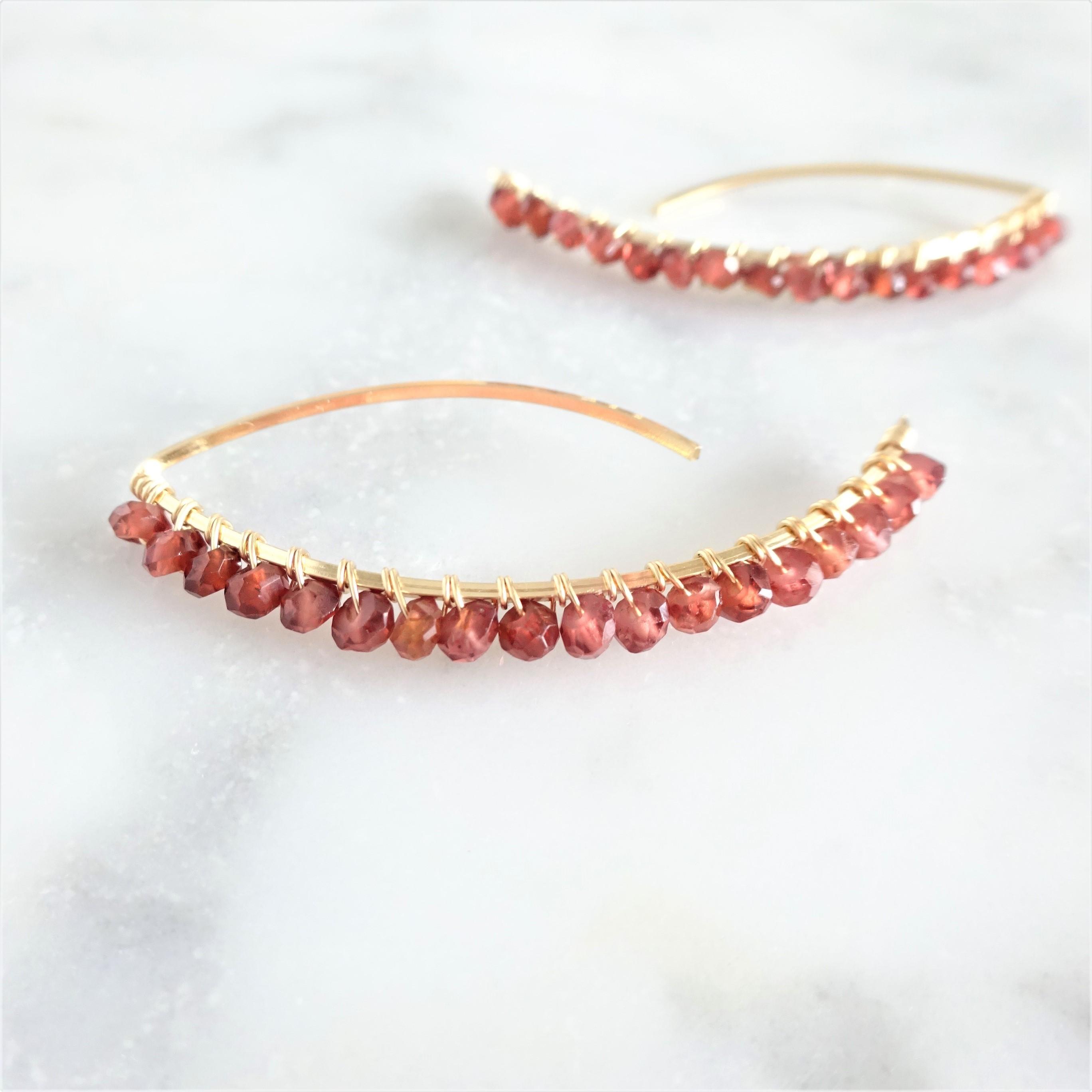 送料無料 14kgf*宝石質Garnet wrapped marquis pierced earring