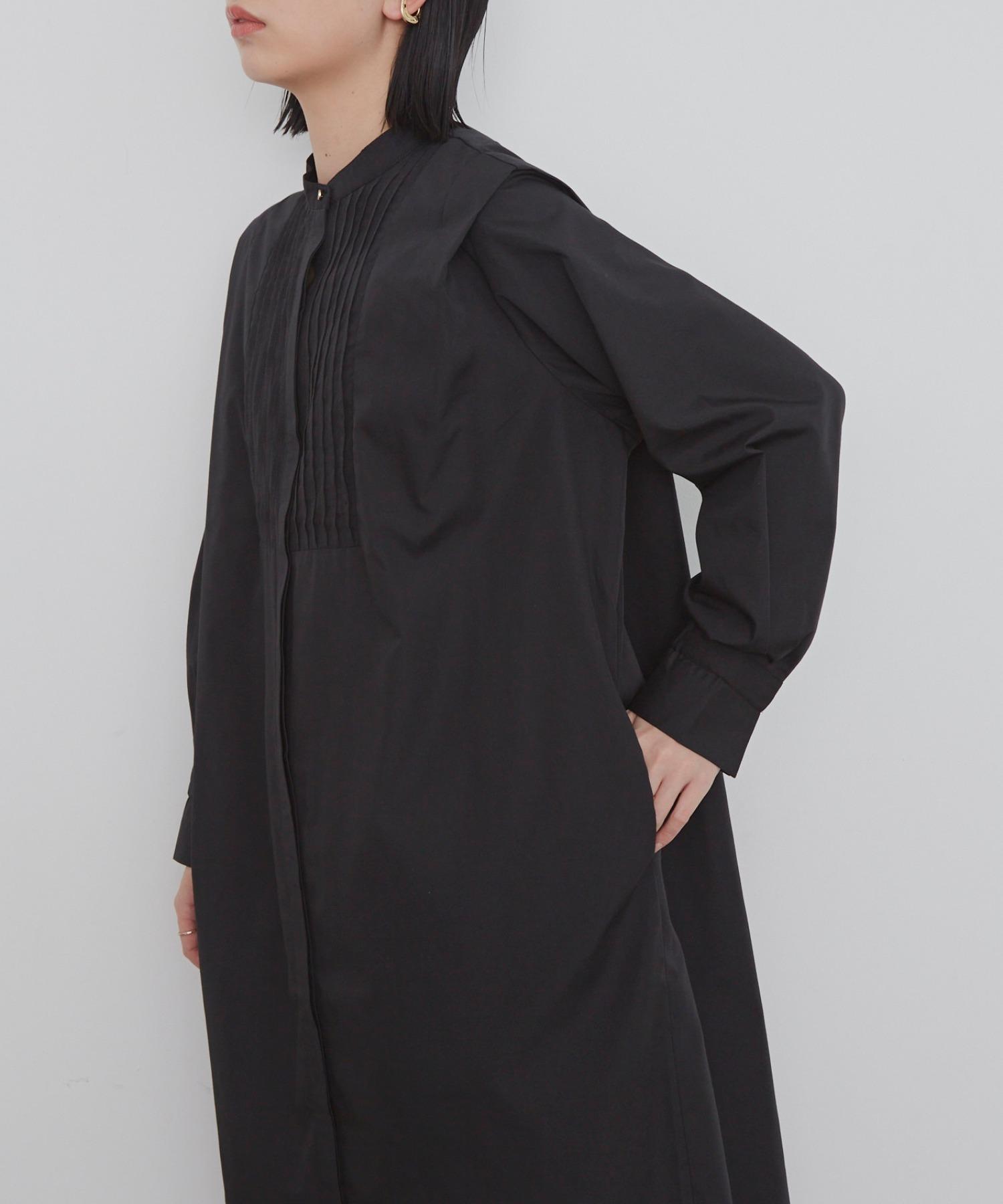 ショルダータックピンタックシャツワンピース /BLK