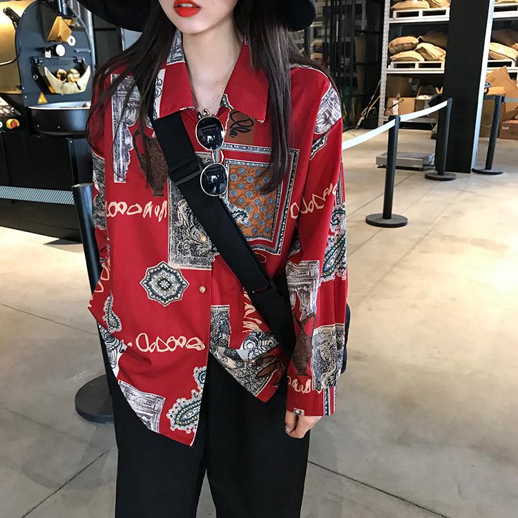【tops】レトロ配色カジュアルシングルブレストシャツ22852984