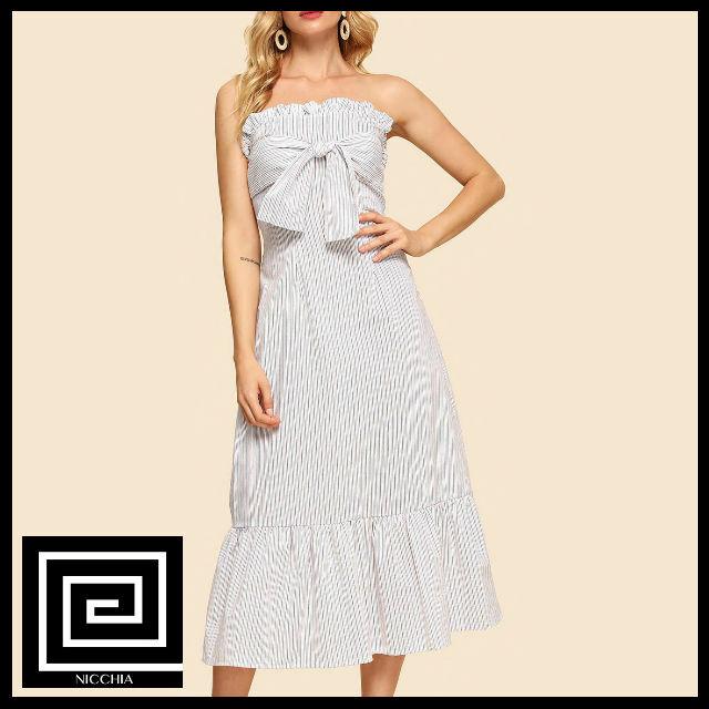 ネクタイフロントフリルトリムチューブドレス