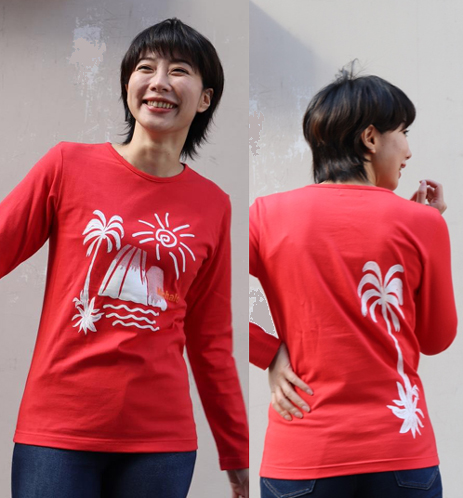 APPLE HOUSE/ZA TOKYO  肌触りの良い日本製・40/2天竺!ハワイアンデザインの男女兼用長袖T-シャツ(Mahalo) No.134295