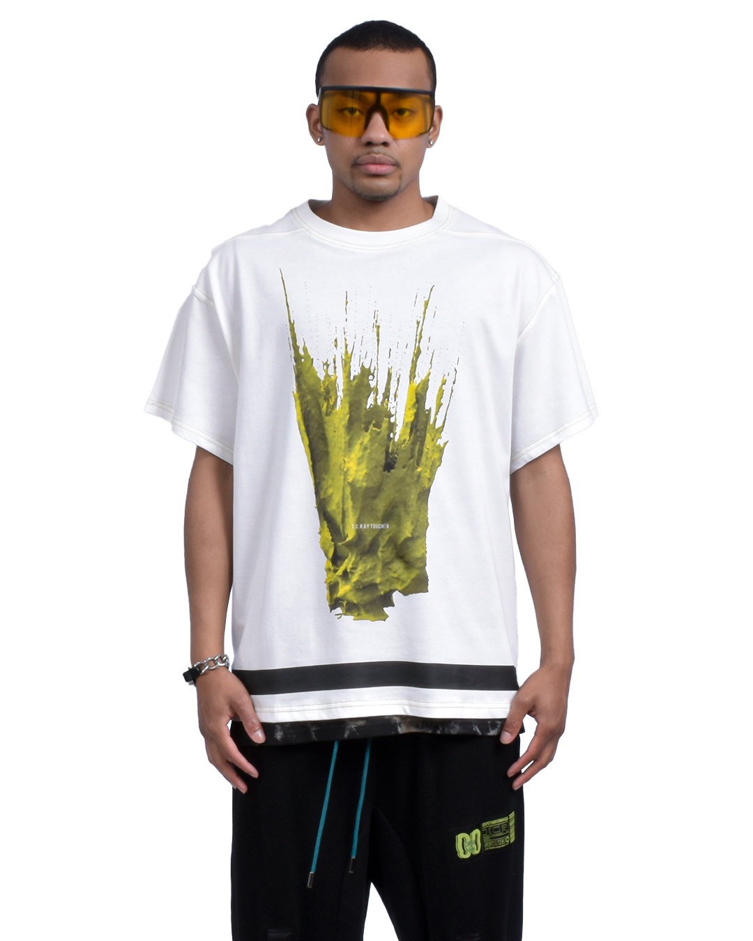 LIQUID OVERSIZED  S/S TEE - WHITE/YELLOW