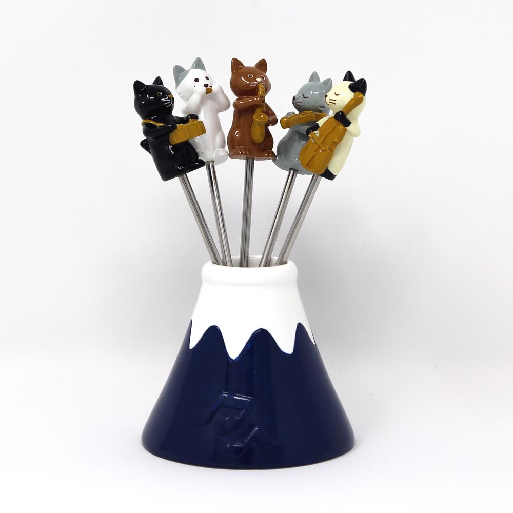 猫ピック(富士山オーケストラ猫)ネイビーブルー