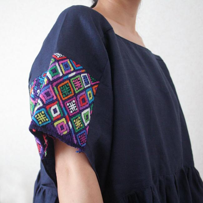&JOURNEY original ナワラ織り袖のリネンワンピース/ Navy /287a/ GUATEMALA グアテマラ
