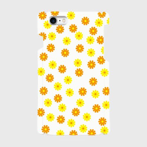 昭和デザイン花(黄・橙) / iPhoneスマホケース(ハードケース)
