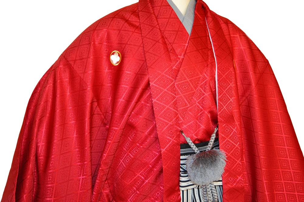 レンタル男性用【紋付袴】赤色着物羽織と黒銀ぼかしの袴フルセットred1[往復送料無料] - 画像3
