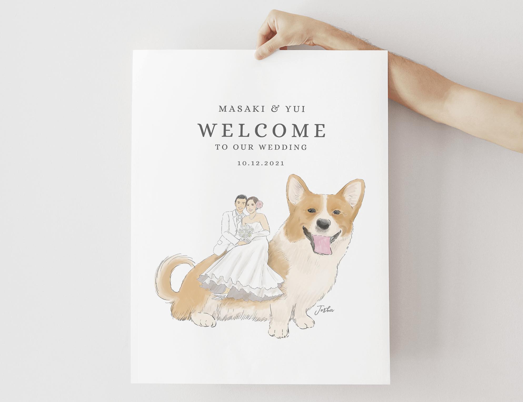 まるでおとぎの国の世界?ペットに乗っちゃう似顔絵ウェルカムボード │結婚式 犬 猫