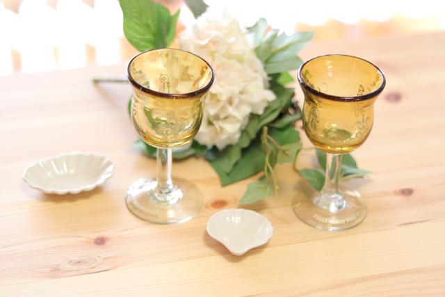 オリジナル琉球ガラス:ワイングラスecole de danceイエロー#4