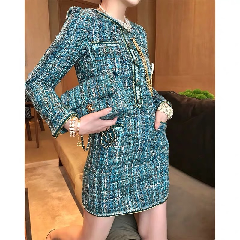 green tweed dress