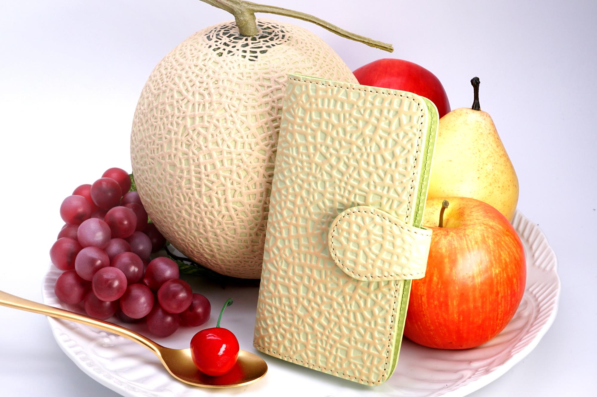 牛革製・クラウンメロンなスマホケース(Mサイズ)iPhone 6 6s 7 8 多機種対応/静岡クラウンメロンコラボ
