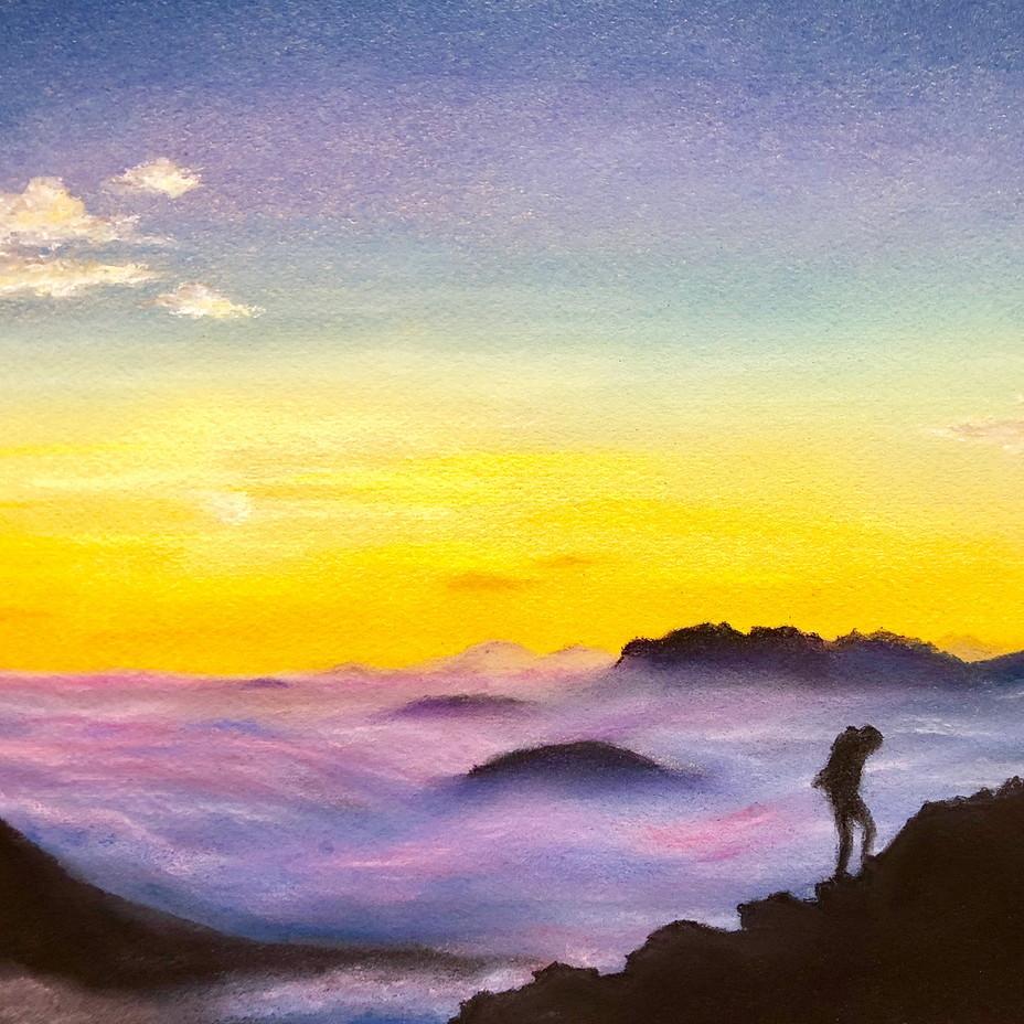 絵画 インテリア アートパネル 雑貨 壁掛け 置物 おしゃれ 山 朝日 パステルアート ロココロ 画家 : ゆめの 作品 : 山頂からの朝日 / ゆめの