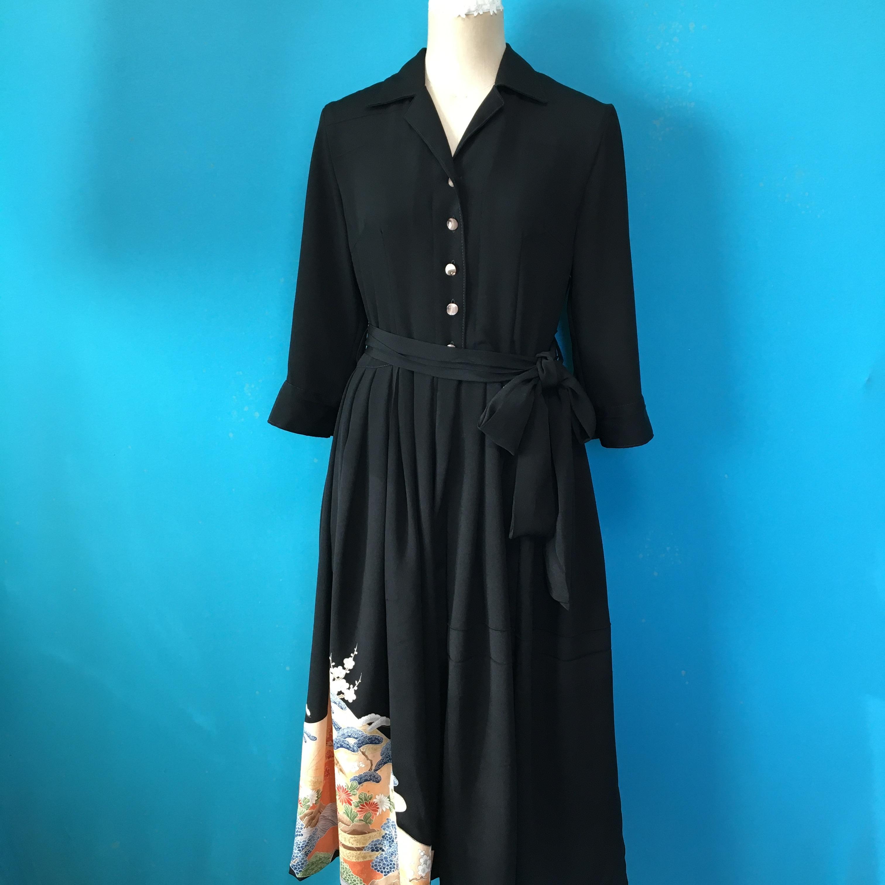 Vintage black dress オープンカラー七分袖