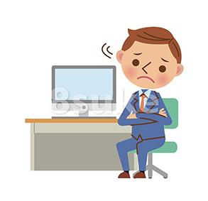 イラスト素材:デスクでパソコンを使うビジネスマン/腕組みして困った表情(ベクター・JPG)