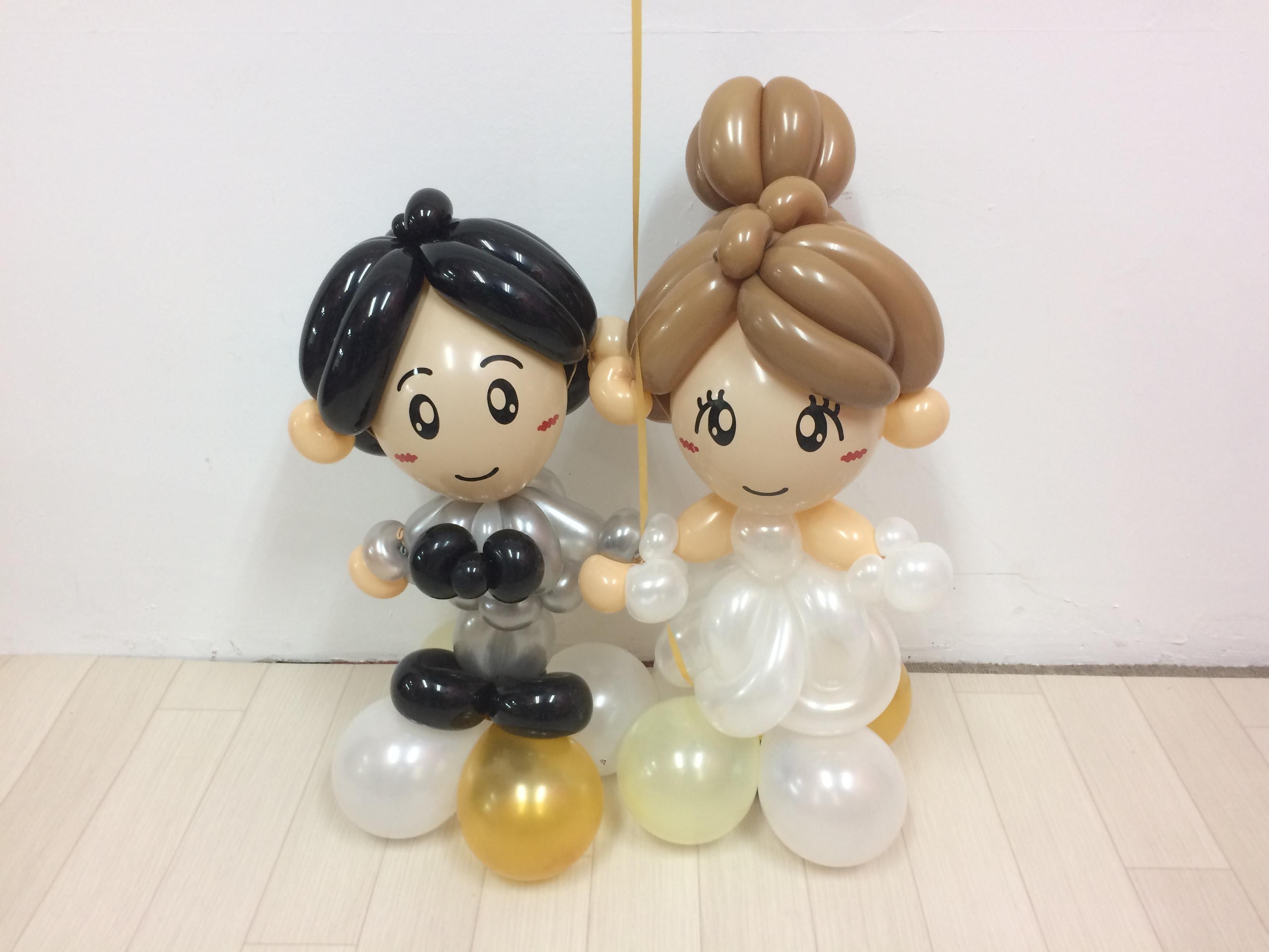 【ウェディングギフトや受付装飾に】Balloon Art ウェディングドール オーダーメイド制作 《送料込》【長期保護加工済み(約1ヶ月)】
