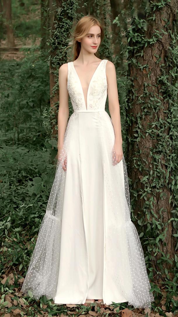 【DearWhite】ウェディングドレス Aライン プリンセス エンパイア デコルテ 結婚式 披露宴 二次会 パーティーウェディングドレス・カラードレス・サイズオーダー格安オーダーメイド DW00046