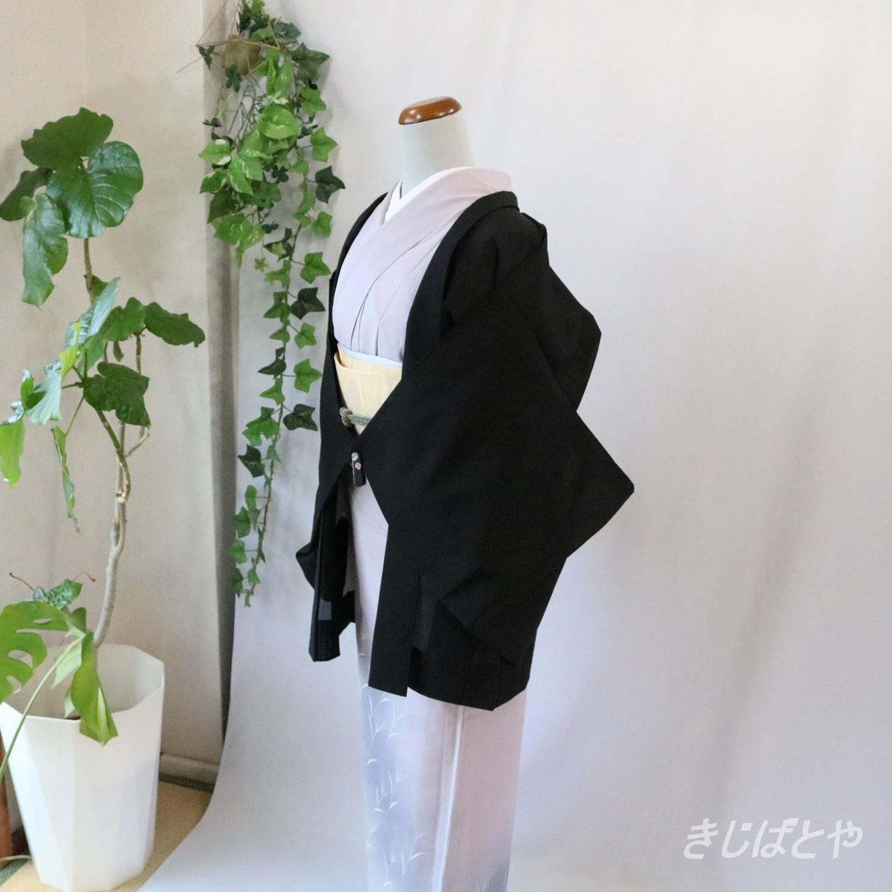 【N様ご予約品】正絹絽  黒地に蘇芳の薄の夏羽織