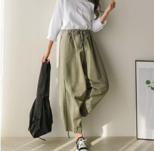 【送料無料】 最旬 ゆるだぼパンツ♡ メンズライク カジュアル バルーン カーゴパンツ ズボン ウエストリボン ゆるカジ