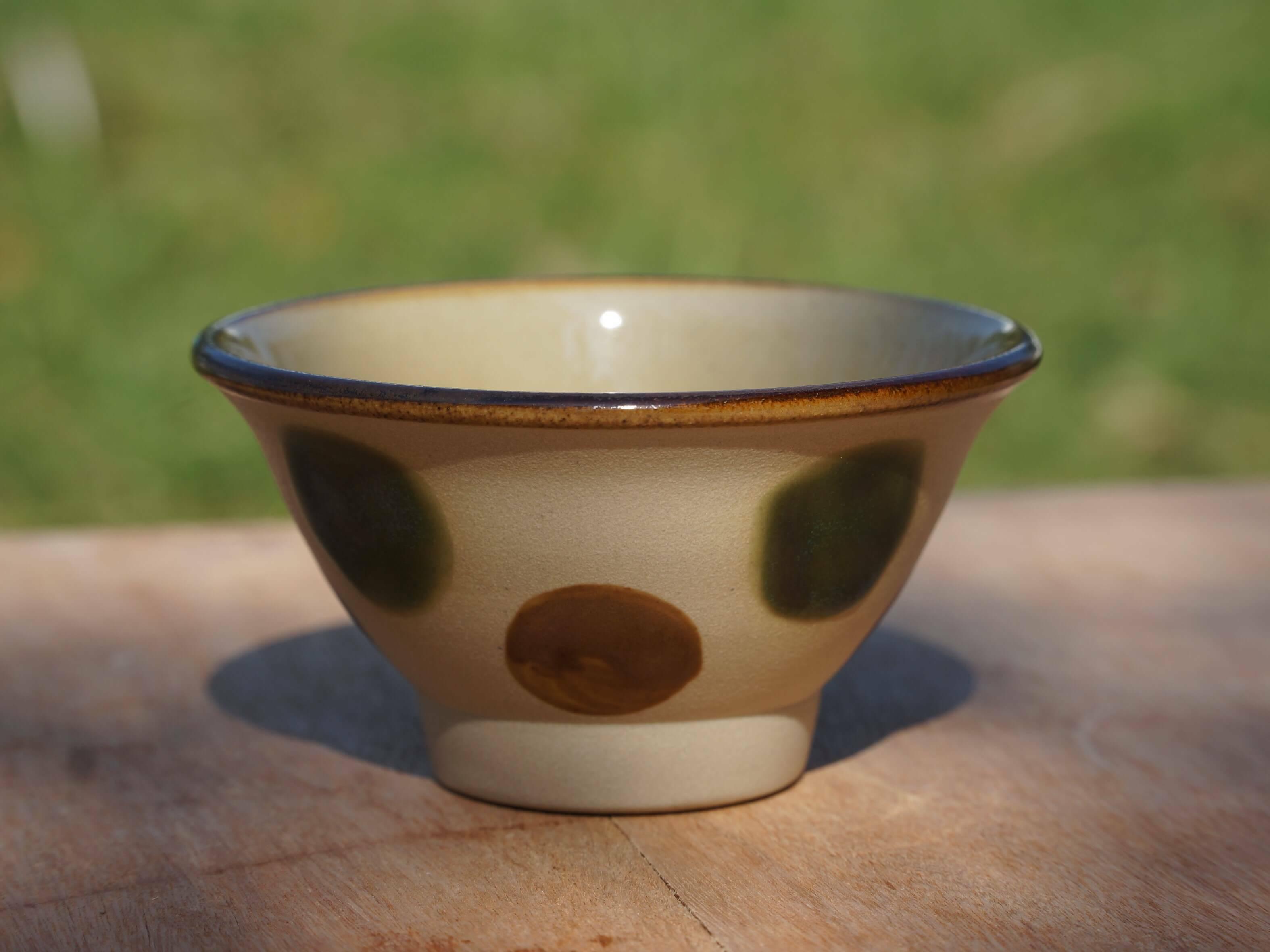 伝統の色合いマカイ3.5寸(約10.5cm)緑釉丸紋 ヤチムン大城工房 大城雅史 やちむん