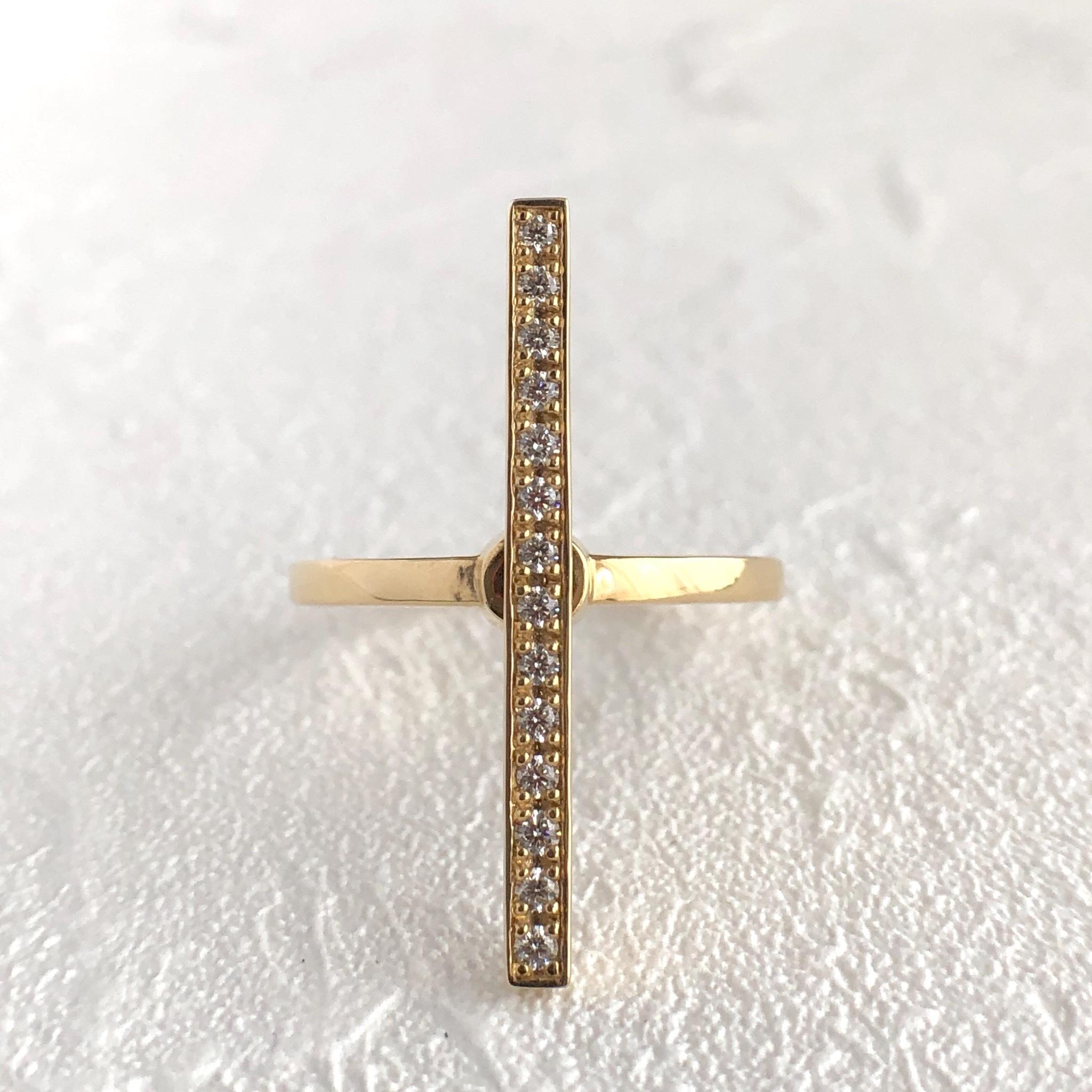 ダイヤモンド クロス リング K18イエローゴールド  チェカ