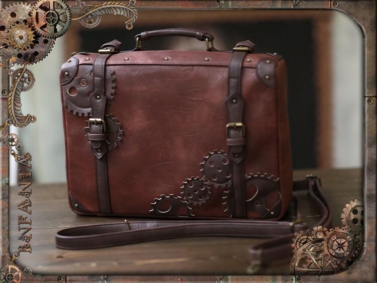 スチームパンクロリータレザーバッグ(Aサイズ4:フェイクレザー)