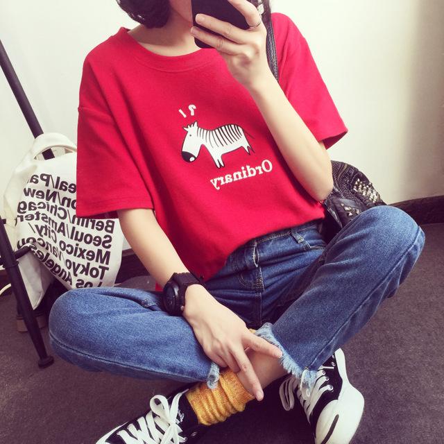 【tops】カジュアルプリント半袖ラウンドネックTシャツ12855385