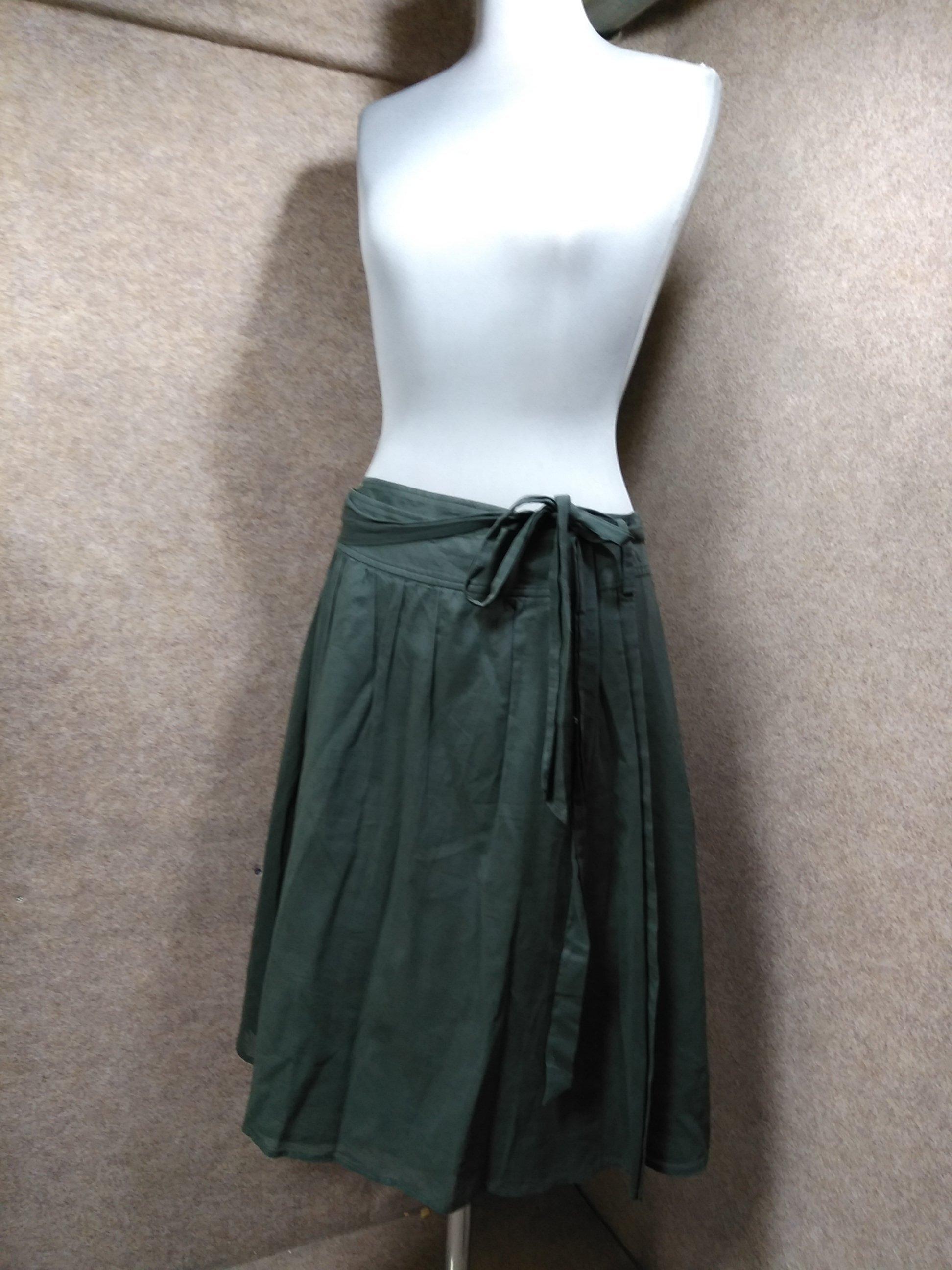 セオリー theory コットン ラップスカート 2 グリーン u1418j