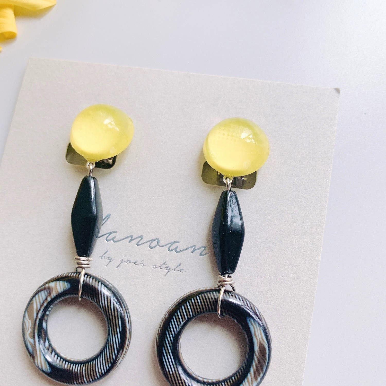 """ Earrings NO.danoan-1-1768″ ペイントyellow×BLACK"